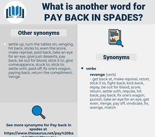 pay back in spades, synonym pay back in spades, another word for pay back in spades, words like pay back in spades, thesaurus pay back in spades