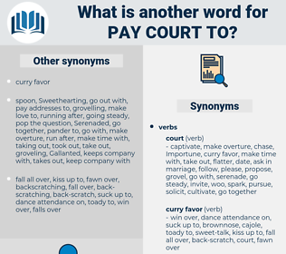 pay court to, synonym pay court to, another word for pay court to, words like pay court to, thesaurus pay court to