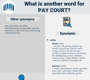 pay court, synonym pay court, another word for pay court, words like pay court, thesaurus pay court