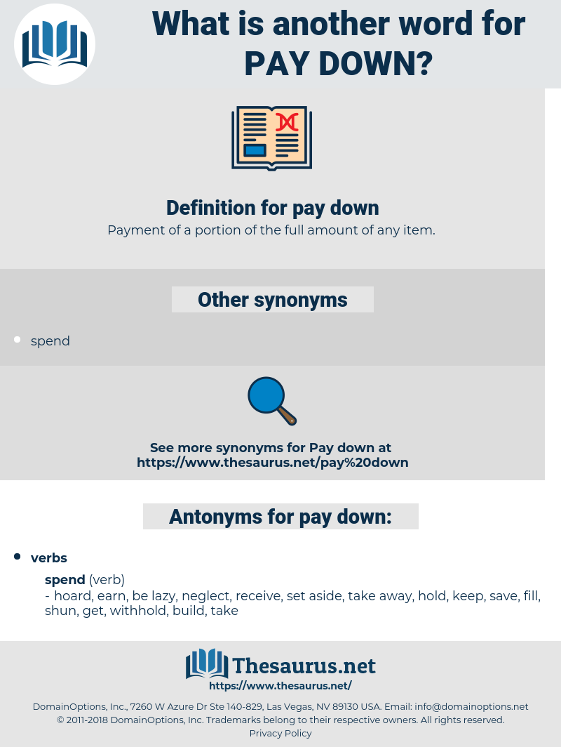 pay down, synonym pay down, another word for pay down, words like pay down, thesaurus pay down