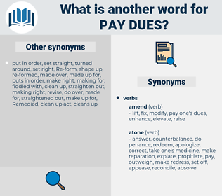 pay dues, synonym pay dues, another word for pay dues, words like pay dues, thesaurus pay dues