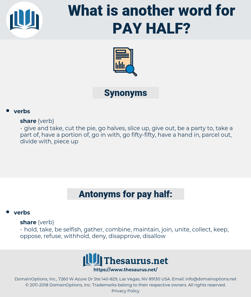 pay half, synonym pay half, another word for pay half, words like pay half, thesaurus pay half