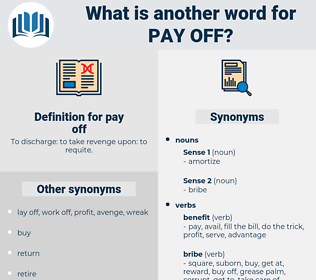 pay off, synonym pay off, another word for pay off, words like pay off, thesaurus pay off