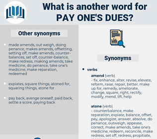pay one's dues, synonym pay one's dues, another word for pay one's dues, words like pay one's dues, thesaurus pay one's dues