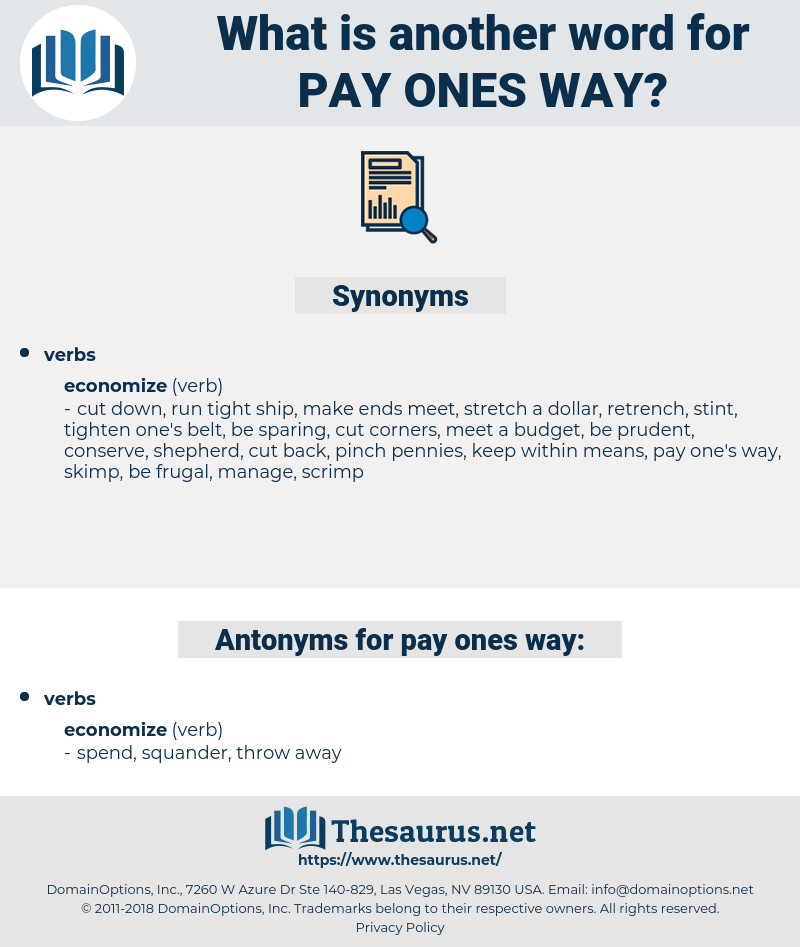 pay ones way, synonym pay ones way, another word for pay ones way, words like pay ones way, thesaurus pay ones way
