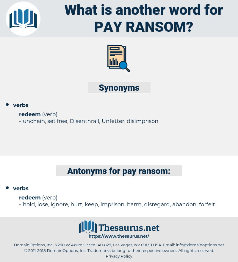 pay ransom, synonym pay ransom, another word for pay ransom, words like pay ransom, thesaurus pay ransom