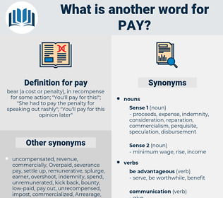 pay, synonym pay, another word for pay, words like pay, thesaurus pay