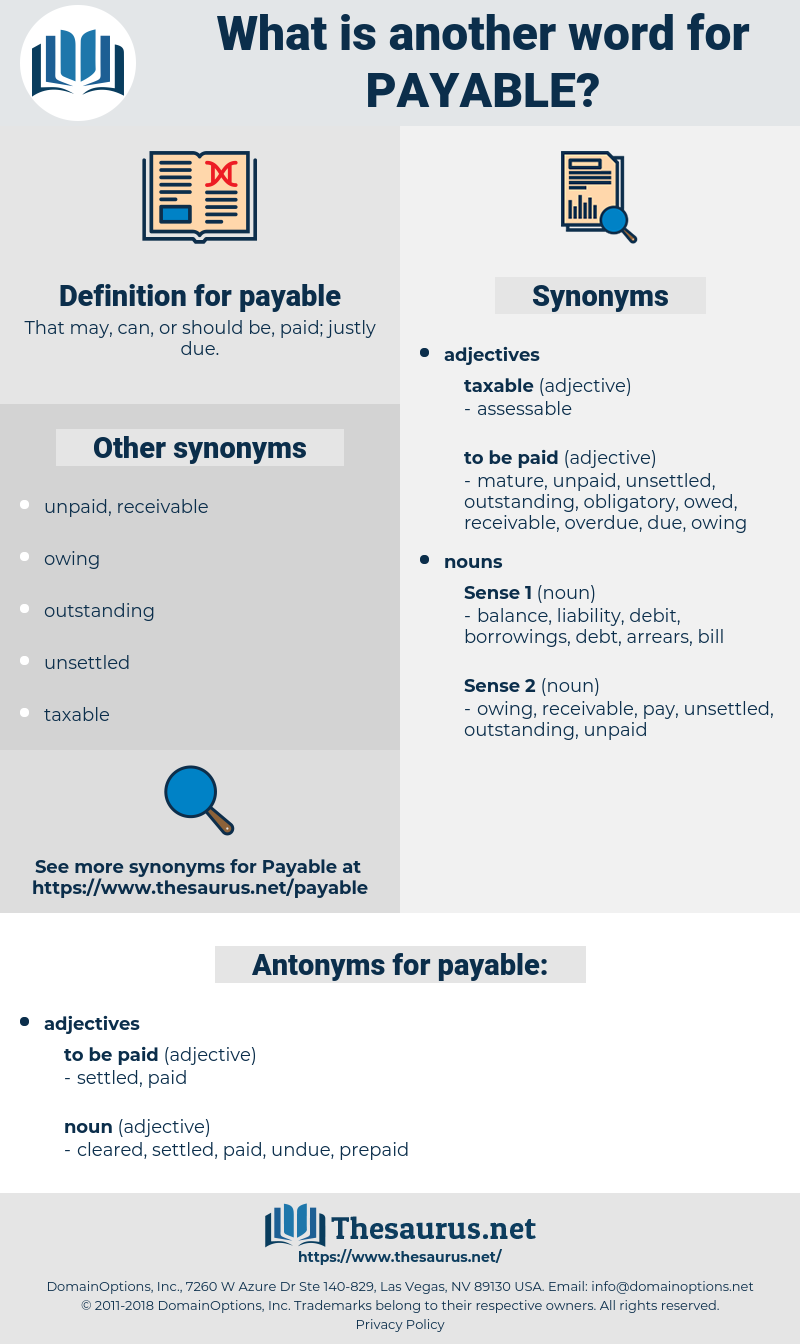 payable, synonym payable, another word for payable, words like payable, thesaurus payable