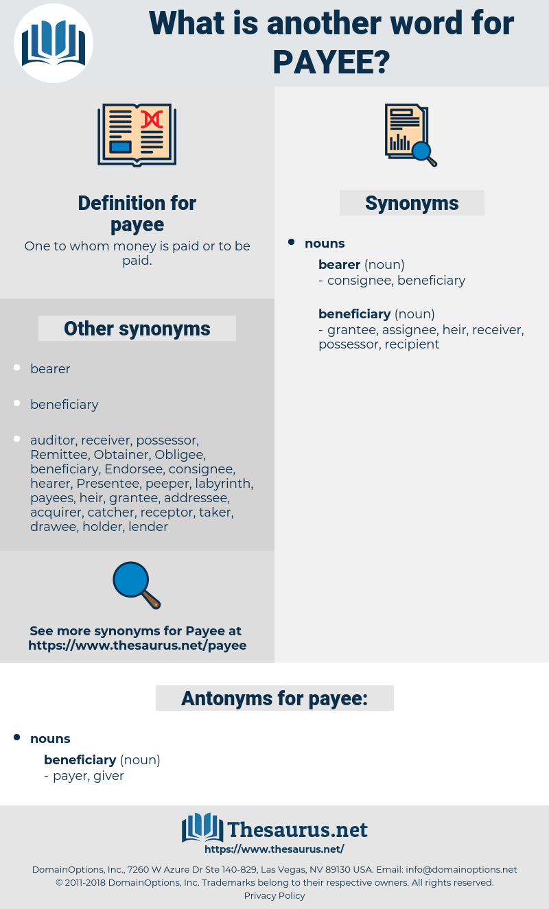 payee, synonym payee, another word for payee, words like payee, thesaurus payee