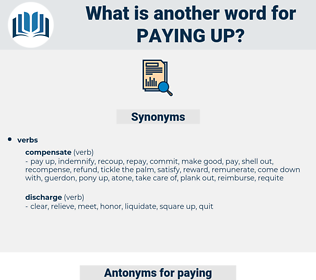 paying up, synonym paying up, another word for paying up, words like paying up, thesaurus paying up
