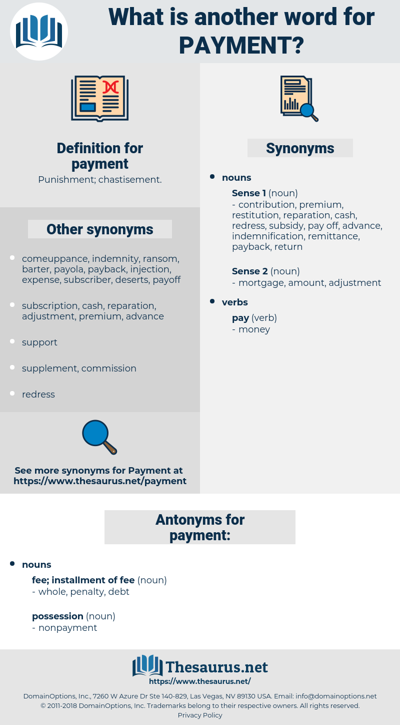 payment, synonym payment, another word for payment, words like payment, thesaurus payment
