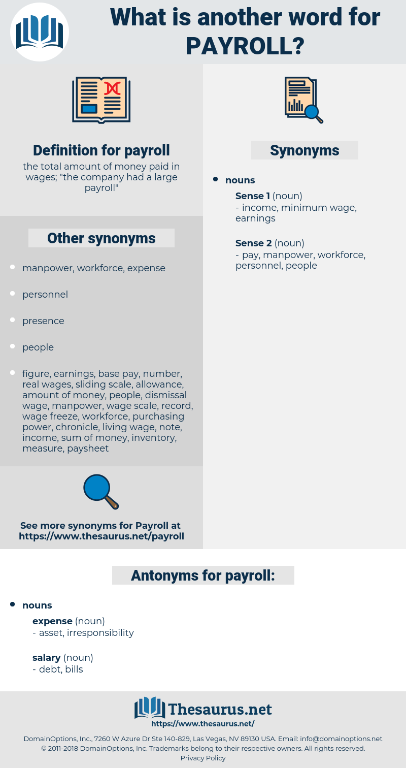 payroll, synonym payroll, another word for payroll, words like payroll, thesaurus payroll