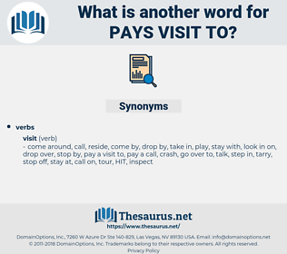 pays visit to, synonym pays visit to, another word for pays visit to, words like pays visit to, thesaurus pays visit to