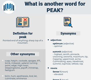 peak, synonym peak, another word for peak, words like peak, thesaurus peak