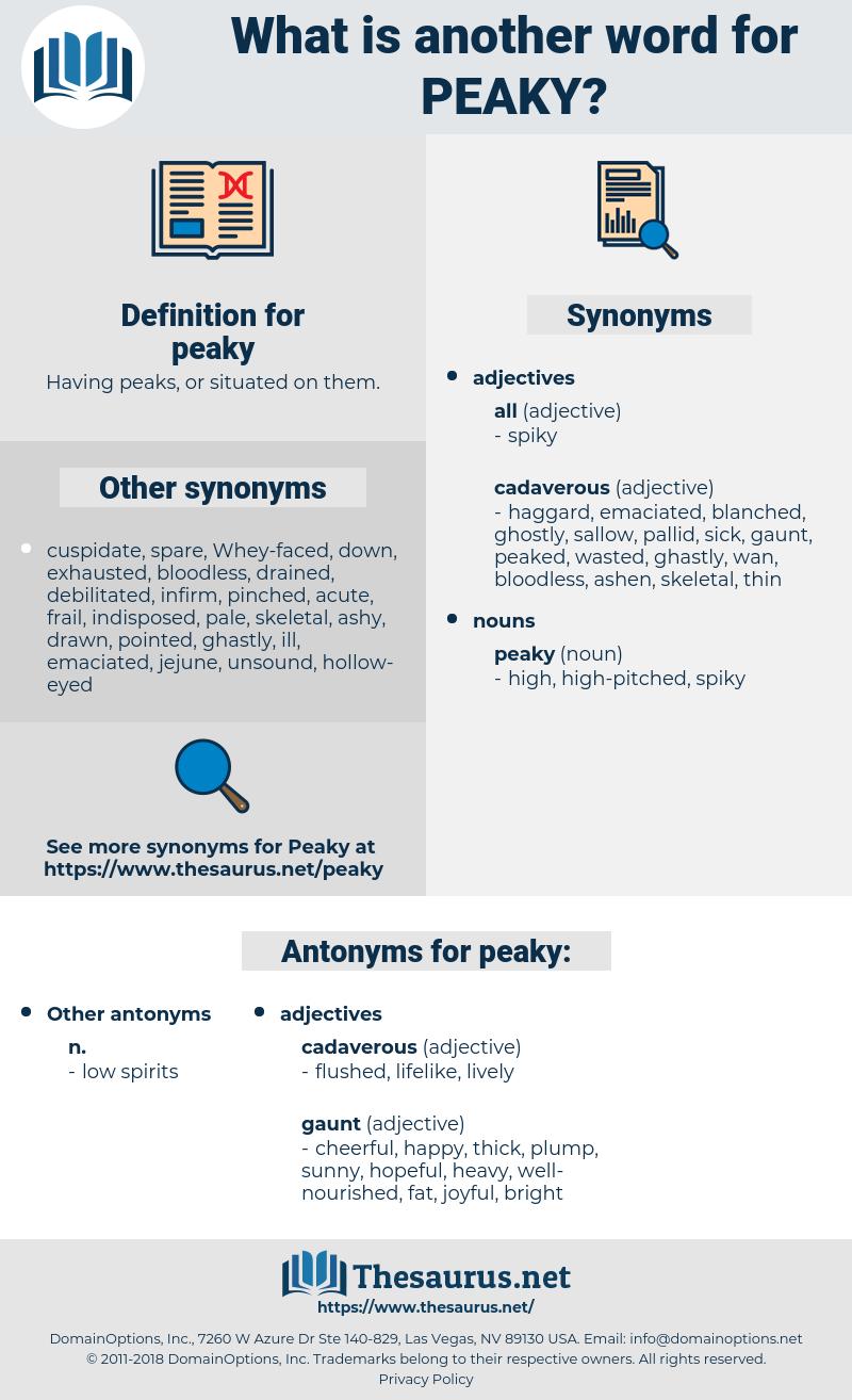 peaky, synonym peaky, another word for peaky, words like peaky, thesaurus peaky