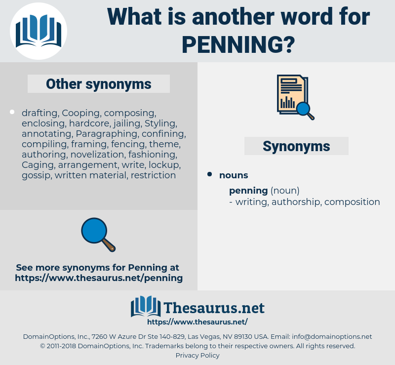 penning, synonym penning, another word for penning, words like penning, thesaurus penning