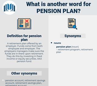 pension plan, synonym pension plan, another word for pension plan, words like pension plan, thesaurus pension plan