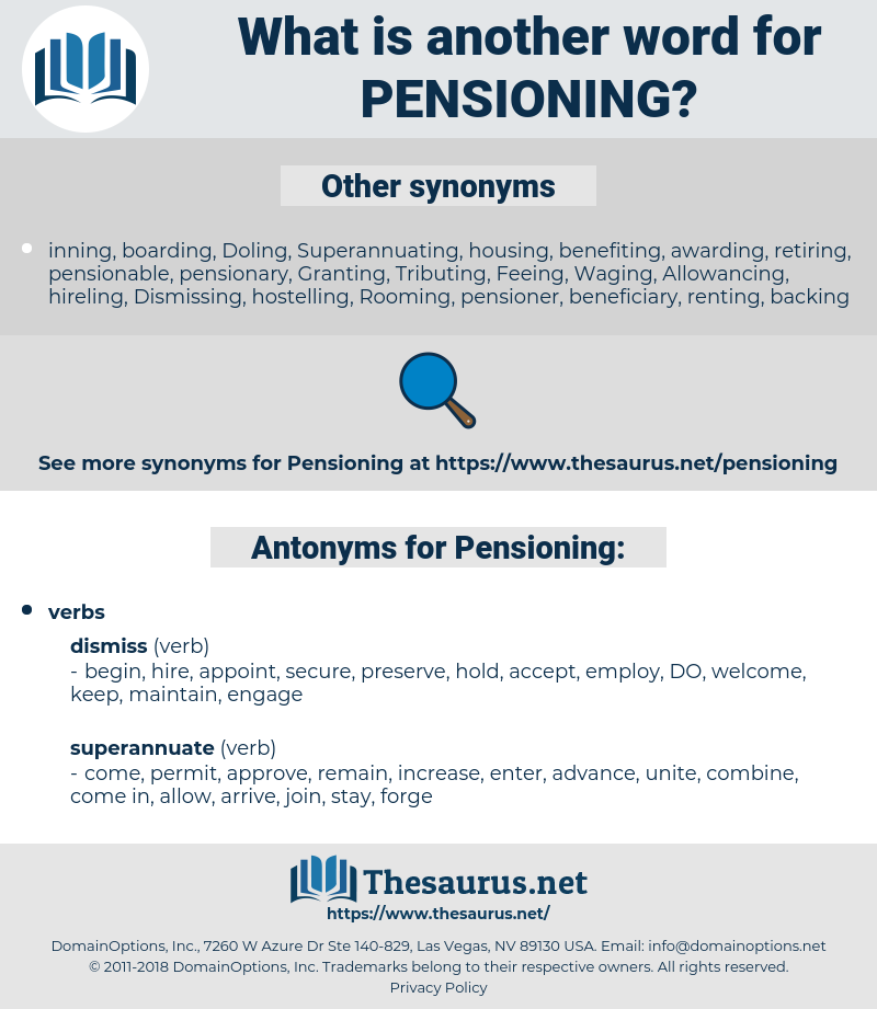 Pensioning, synonym Pensioning, another word for Pensioning, words like Pensioning, thesaurus Pensioning