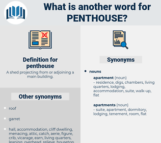 penthouse, synonym penthouse, another word for penthouse, words like penthouse, thesaurus penthouse