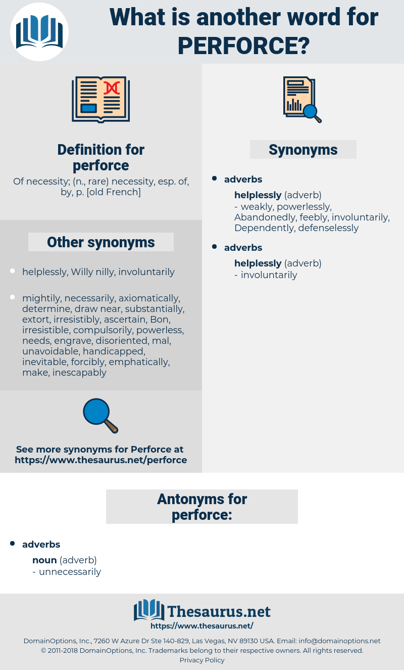 perforce, synonym perforce, another word for perforce, words like perforce, thesaurus perforce