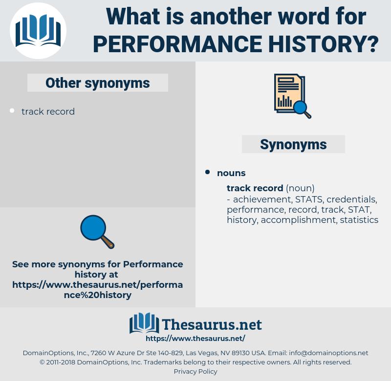 performance history, synonym performance history, another word for performance history, words like performance history, thesaurus performance history
