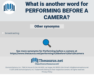 performing before a camera, synonym performing before a camera, another word for performing before a camera, words like performing before a camera, thesaurus performing before a camera
