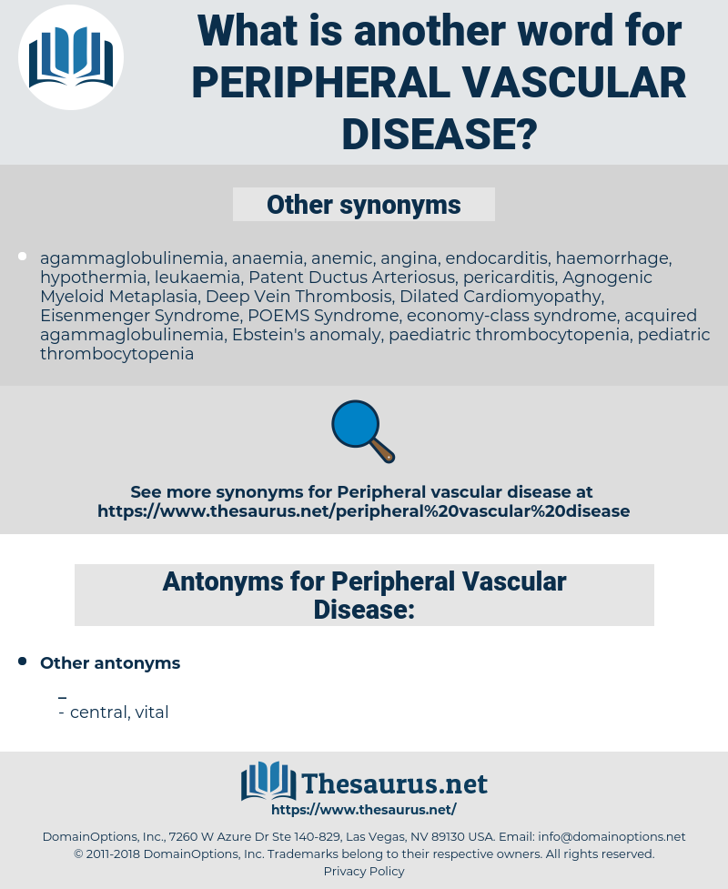 Peripheral Vascular Disease, synonym Peripheral Vascular Disease, another word for Peripheral Vascular Disease, words like Peripheral Vascular Disease, thesaurus Peripheral Vascular Disease