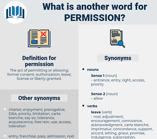 permission, synonym permission, another word for permission, words like permission, thesaurus permission
