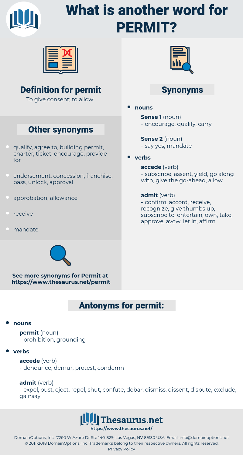 permit, synonym permit, another word for permit, words like permit, thesaurus permit