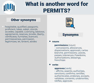 Permits, synonym Permits, another word for Permits, words like Permits, thesaurus Permits