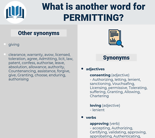 Permitting, synonym Permitting, another word for Permitting, words like Permitting, thesaurus Permitting