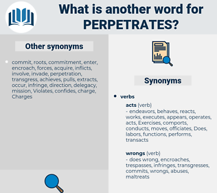perpetrates, synonym perpetrates, another word for perpetrates, words like perpetrates, thesaurus perpetrates