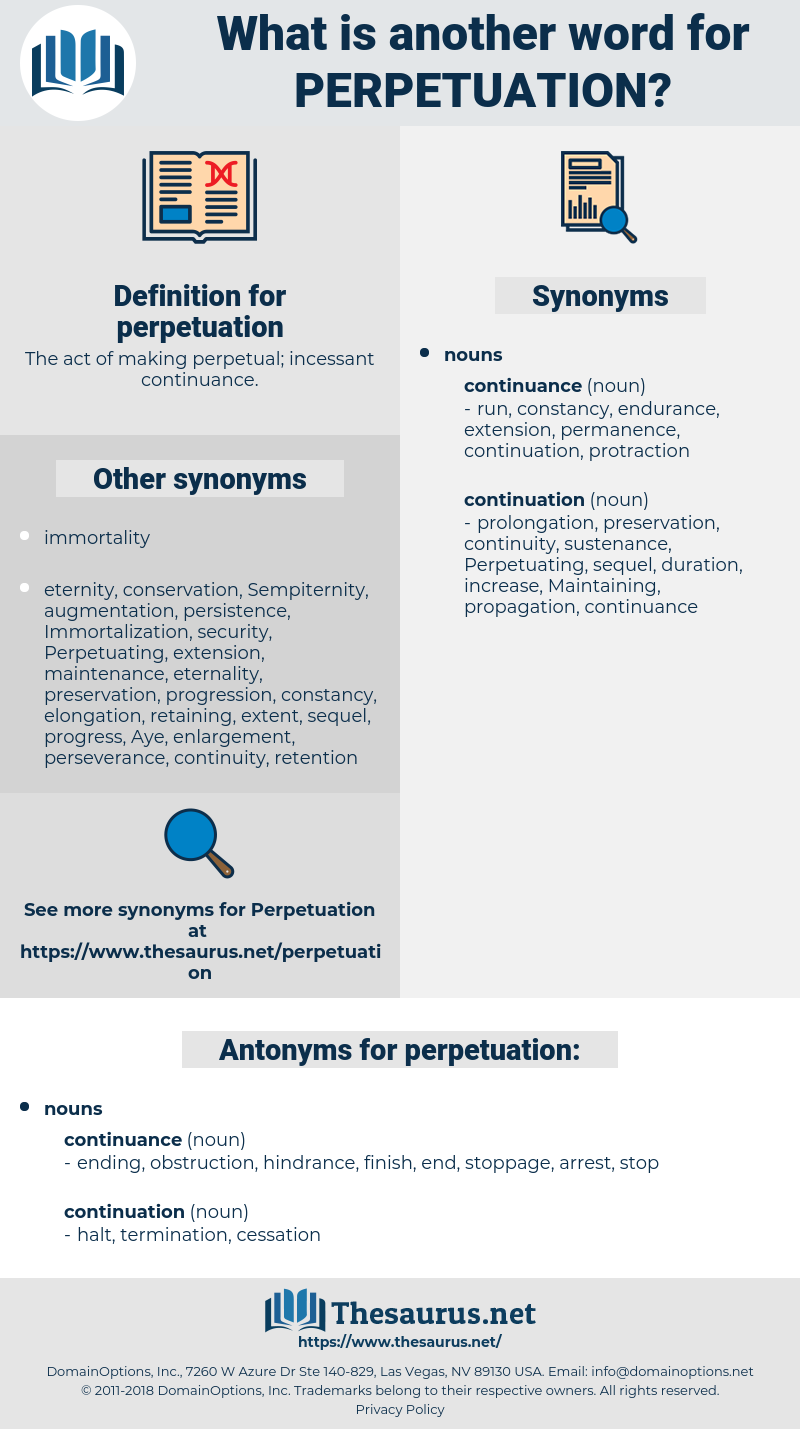 perpetuation, synonym perpetuation, another word for perpetuation, words like perpetuation, thesaurus perpetuation