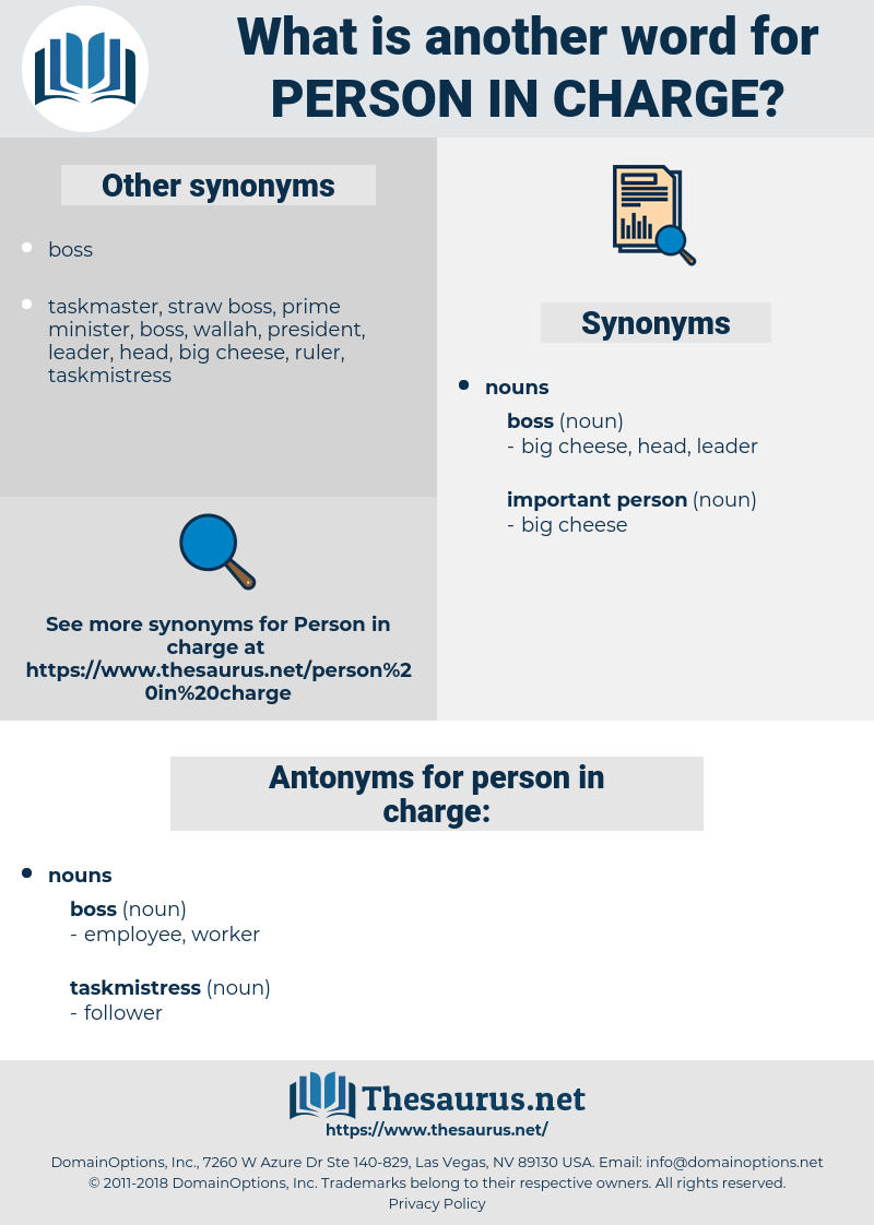 Synonyms For Person In Charge Antonyms For Person In Charge