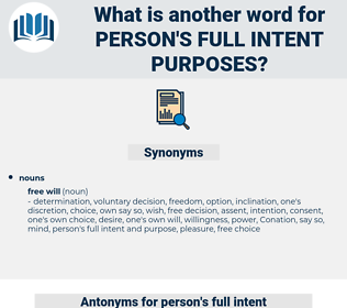 person's full intent purposes, synonym person's full intent purposes, another word for person's full intent purposes, words like person's full intent purposes, thesaurus person's full intent purposes