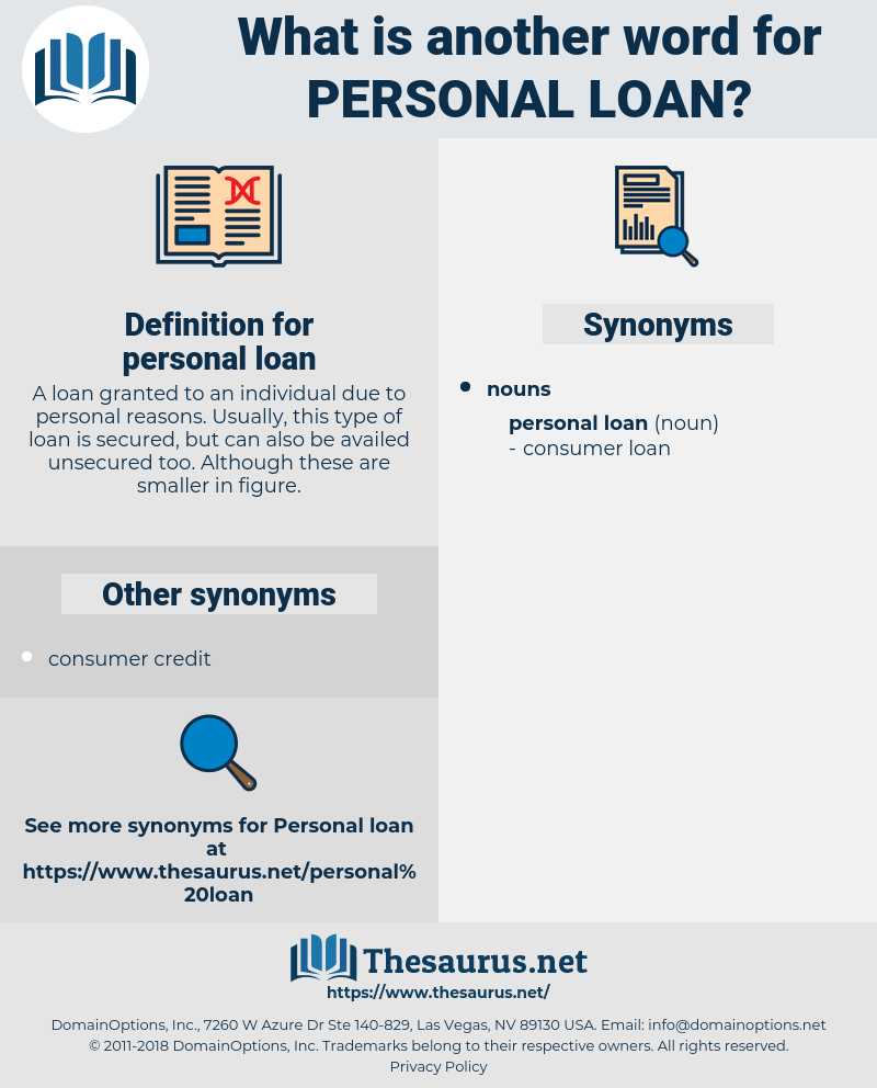 synonyms for personal loan - thesaurus