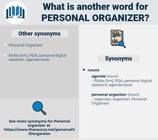 personal organizer, synonym personal organizer, another word for personal organizer, words like personal organizer, thesaurus personal organizer