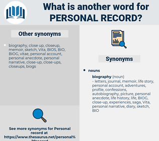 personal record, synonym personal record, another word for personal record, words like personal record, thesaurus personal record