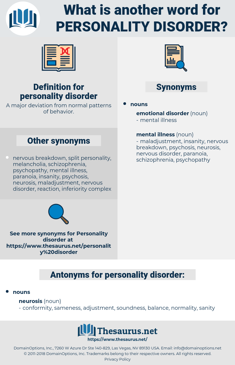 personality disorder, synonym personality disorder, another word for personality disorder, words like personality disorder, thesaurus personality disorder