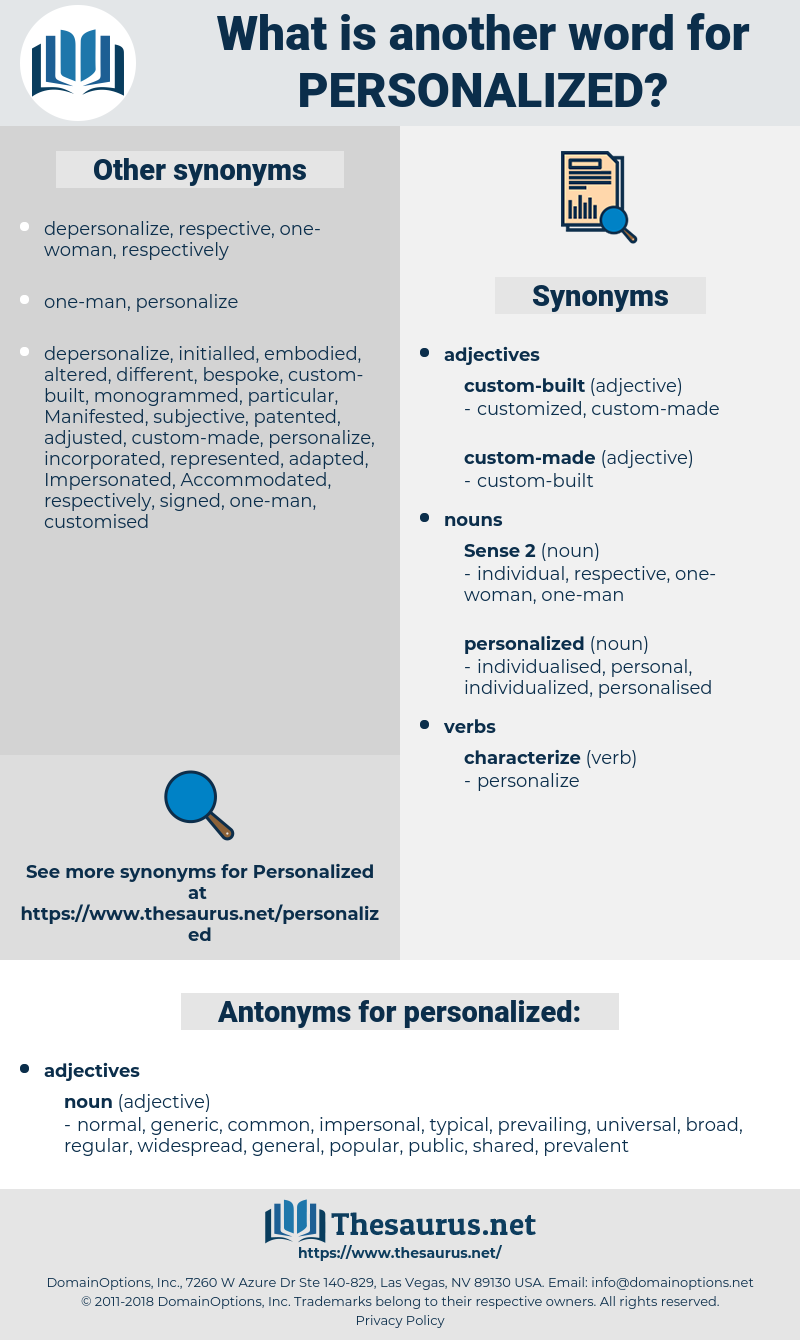 personalized, synonym personalized, another word for personalized, words like personalized, thesaurus personalized