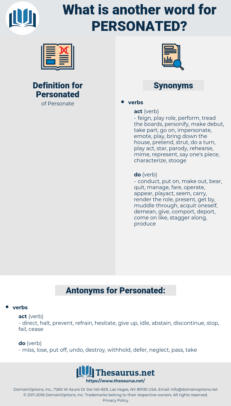 Personated, synonym Personated, another word for Personated, words like Personated, thesaurus Personated