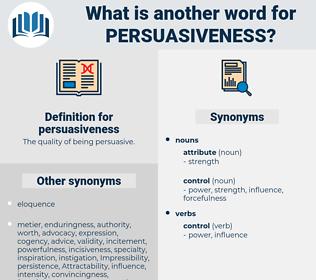 persuasiveness, synonym persuasiveness, another word for persuasiveness, words like persuasiveness, thesaurus persuasiveness
