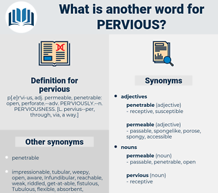 pervious, synonym pervious, another word for pervious, words like pervious, thesaurus pervious