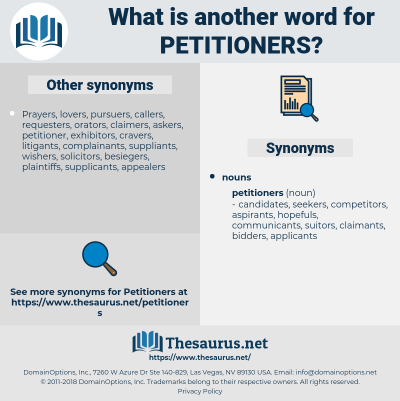 petitioners, synonym petitioners, another word for petitioners, words like petitioners, thesaurus petitioners