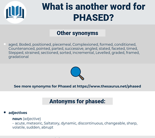 phased, synonym phased, another word for phased, words like phased, thesaurus phased