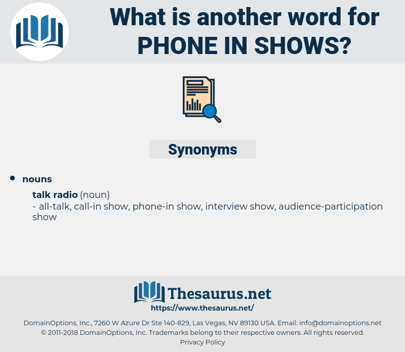 phone in shows, synonym phone in shows, another word for phone in shows, words like phone in shows, thesaurus phone in shows