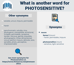photosensitive, synonym photosensitive, another word for photosensitive, words like photosensitive, thesaurus photosensitive