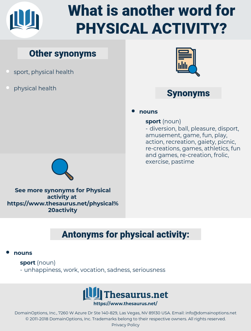 physical activity, synonym physical activity, another word for physical activity, words like physical activity, thesaurus physical activity
