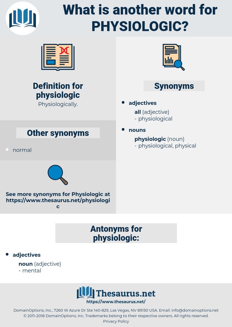physiologic, synonym physiologic, another word for physiologic, words like physiologic, thesaurus physiologic