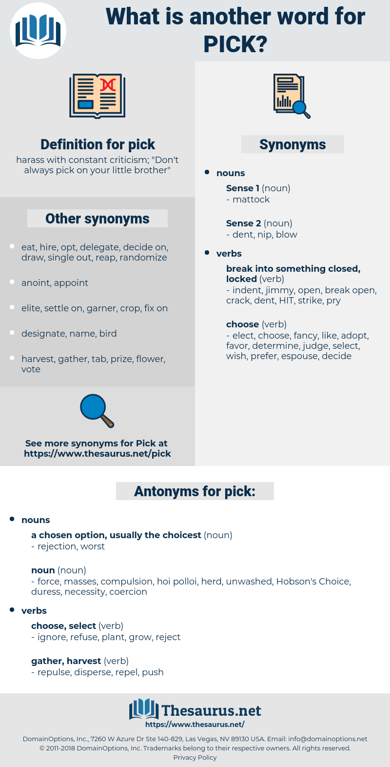 pick, synonym pick, another word for pick, words like pick, thesaurus pick